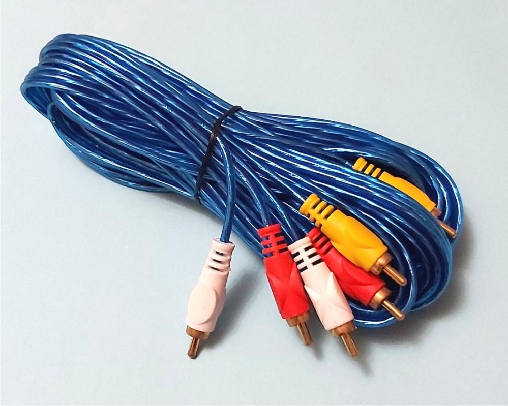 Аудиошнур кабель 3 RCA на 3 RCA штекер-штекер прямой,     5 метров,