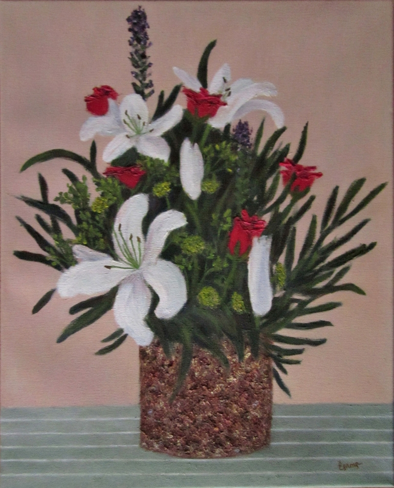 Картина маслом Букет в пёстрой вазе 40х50