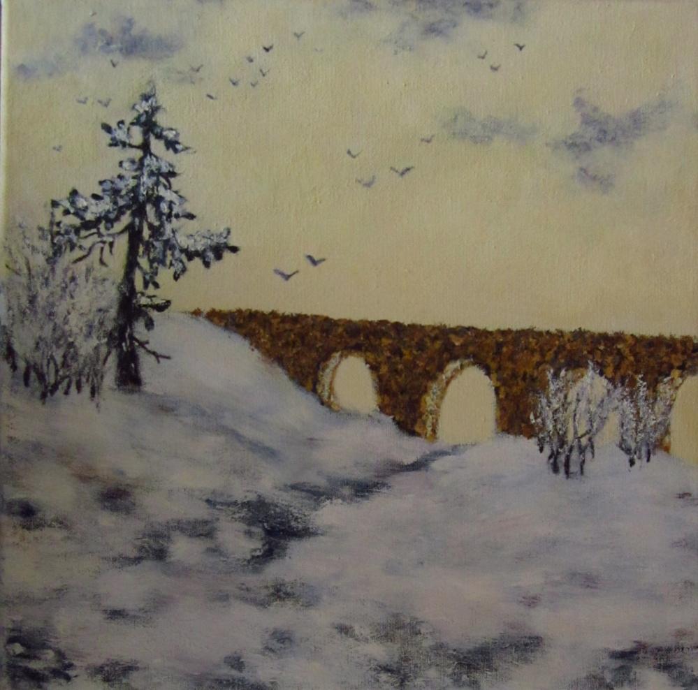Картина маслом Мост через реку 30х30