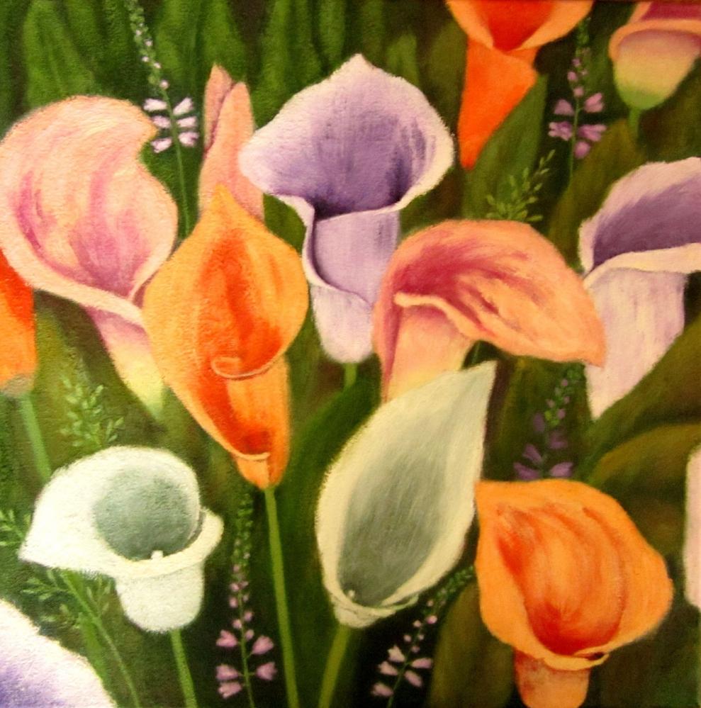 Картина маслом Величественные каллы 40х40