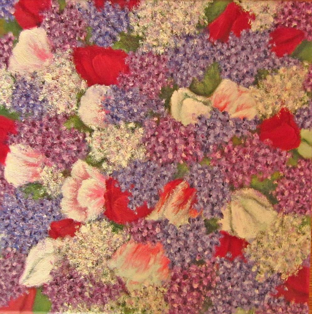 Картина маслом Весенние цветы 30х30