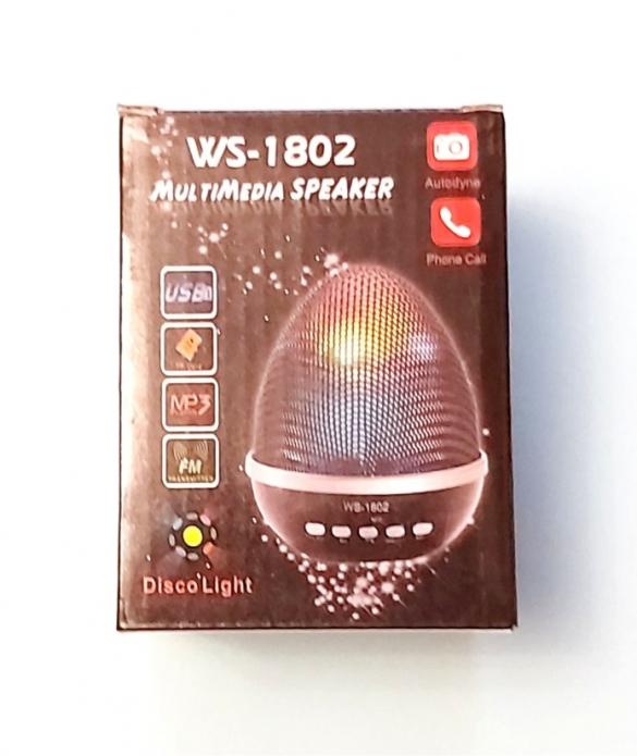 Портативная MP3 Bluetooth колонка WS-1802,   Яйцо,   Disco Light