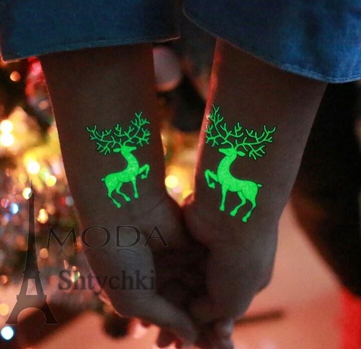 Светящийся новогодние водные татуировки,   святятся в темноте