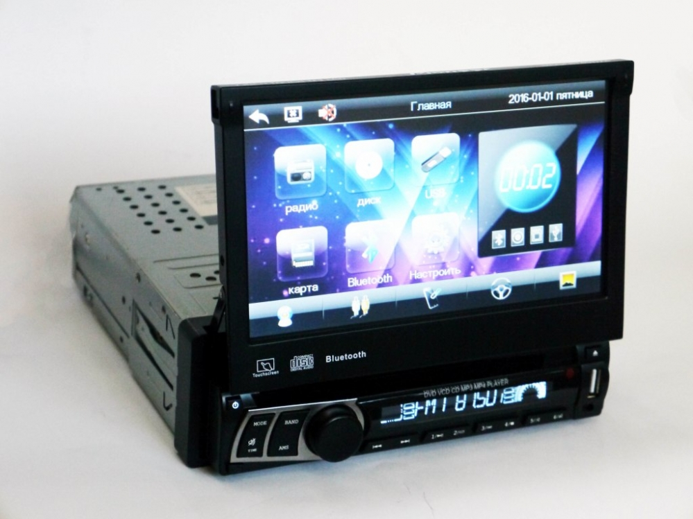 1din Магнитола Pioneer 712 USB + DVD +  Bluetooth
