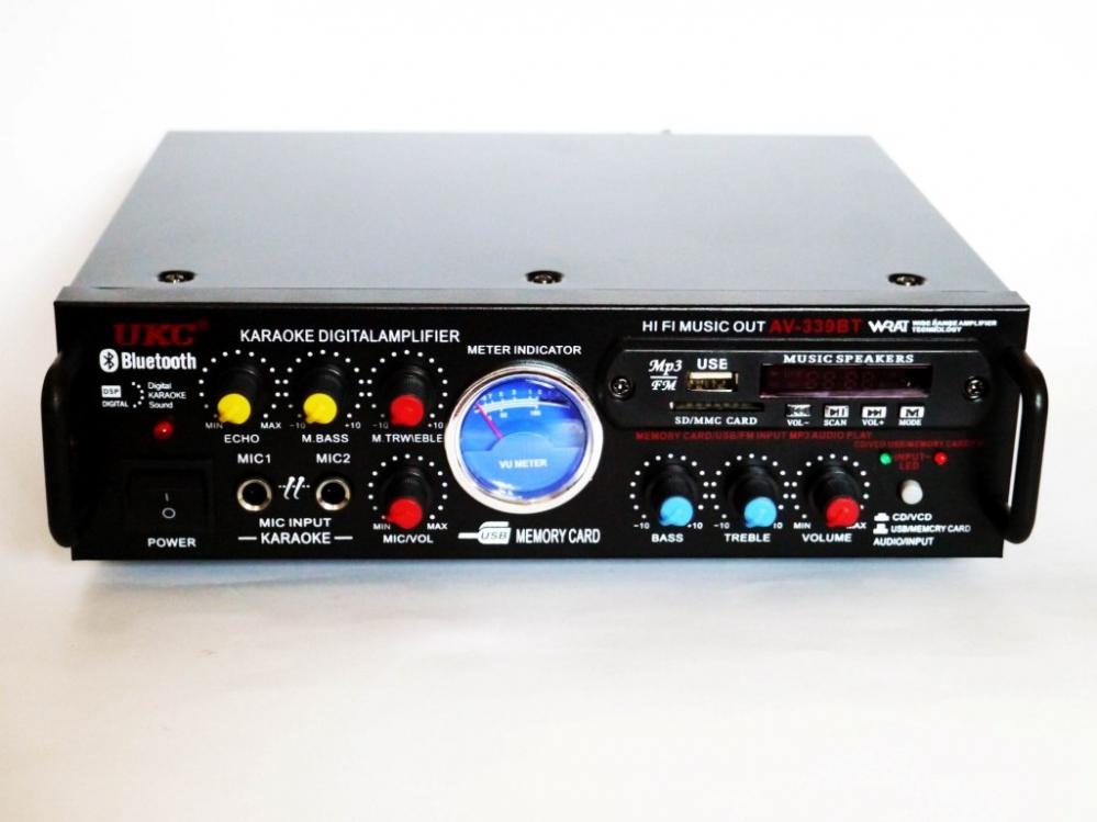 Усилитель звука UKC AV-339A + USB + КАРАОКЕ 2микрофона